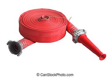 manguera, fuego, aislado, lucha, fondo., tubo, blanco, suave, rojo