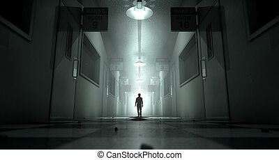 manicomio con figura fantasmal