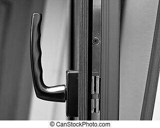 manija, fibra de vidrio, ventana., ventana, abierto