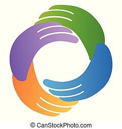 Mano abstracta alrededor del círculo