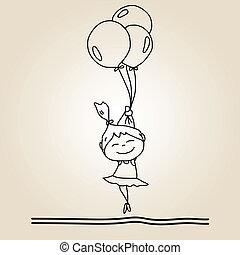 mano, caricatura, felicidad, dibujo