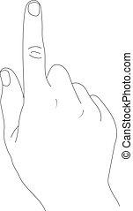 Mano con dedo índice en un fondo blanco.