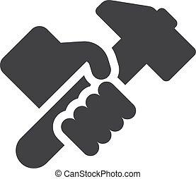 Mano con icono hummer en negro en un fondo blanco. Ilustración de vectores