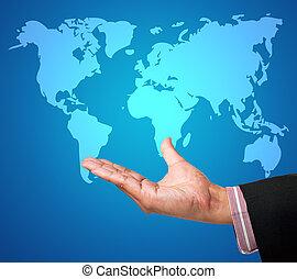 Mano con mapa mundial en una interfaz de pantalla de toque
