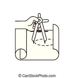 Mano con plan de construcción icono aislado