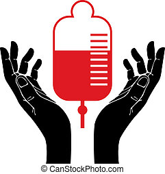 Mano con vector de donación de sangre símbolo.