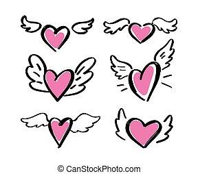 mano, corazones, set., alas, fondo., dibujado, vector., blanco