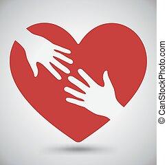 Mano de amante en el corazón rojo