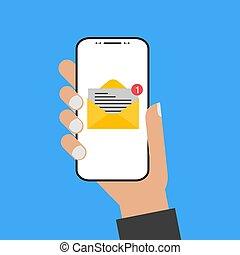 Mano de diseño moderno sosteniendo el smartphone con pantalla de correo electrónico
