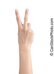 Mano de mujer mostrando dos dedos