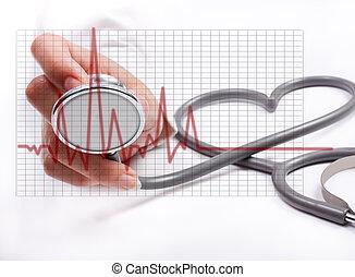 Mano de mujer sosteniendo estetoscopio, concepto de salud