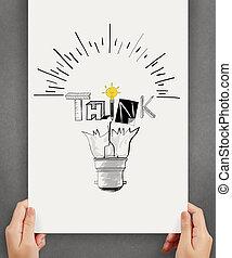 Mano de negocios sosteniendo posters de mano de luz dibujada y pensar en el diseño de palabras como concepto