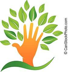 Mano de vector con hojas verdes logo