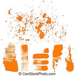 mano, -, dibujado, naranja, cepillo, textured, golpes