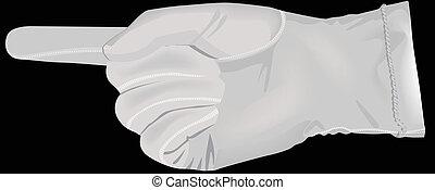 Mano en un guante blanco