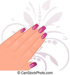 mano femenina, manicured