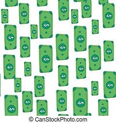 mano, fondo., dólar, patrón, lluvia, aislado, dinero, vector, sobre, caer, ilustración, drawing.