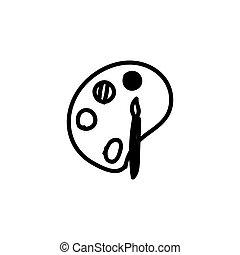mano, garabato, colores, dibujado, whithe, ilustración, paintbrush., color., dibujos, vector, simple, aislado, negro, fondo., pallette