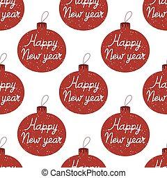 mano hecha, patrón, pelotas, seamless, navidad feliz, efecto, dibujado, año, nuevo, aislado, interior., nevar, árbol, letras, blanco, fondo.