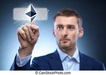 Mano hombre toque el icono ondulado en la pantalla