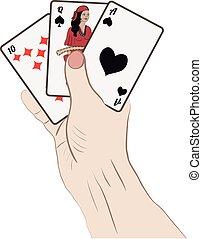 Mano humana con cartas