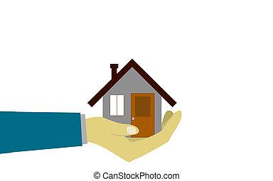 Mano humana sosteniendo una casa