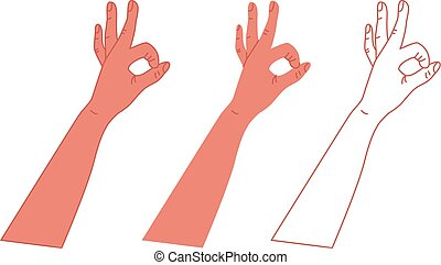 mano., ilustración, vector, aprobar, blanco, símbolo, fondo.