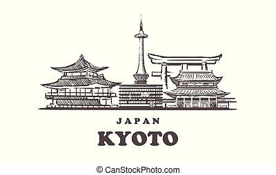 mano, kyoto, kyoto, japón, dibujado, skyline., vector, illustration., bosquejo