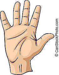 Mano levantada en un gesto de mano abierta