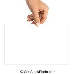 mano, mano., papel, tarjeta comercial en blanco, tenencia, aislado, recorte, plantilla, fondo., vacío, blanco, path.