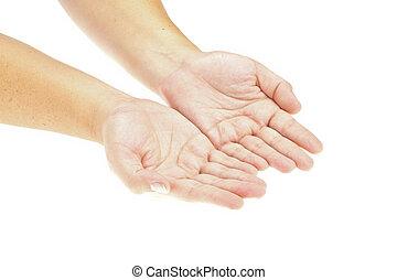 Mano, manos abiertas sosteniendo un objeto. Inserta tu producto. Imagen aislada