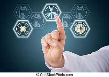Mano masculina activando iconos de energía renovables