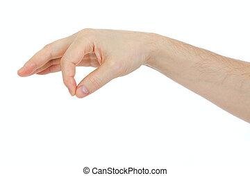 Mano masculina sosteniendo un objeto aislado en blanco