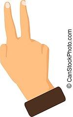 Mano mostrando dos dedos en un fondo blanco. Ilustración de vectores