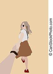 mano, niña, blanco, fondo., tenencia, vector, ilustración