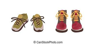 mano, otoño, vista, elegante, estilo, shoes, dos, aislado, caricatura, vector, calzado, illustration., casual, colorido, par, acuarela, white., dibujado, frente, estacional, plano, zapatillas, botas