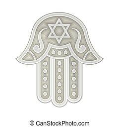 mano, palma, amuleto, o, judío, hamsa, ilustración, vector