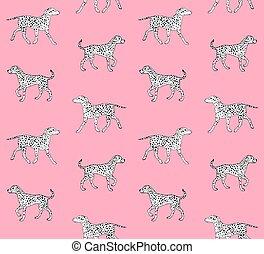 mano, perro, vector, dibujado, bosquejo, seamless, patrón
