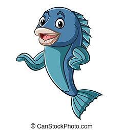 mano, pez, mascota, caricatura, ondulación