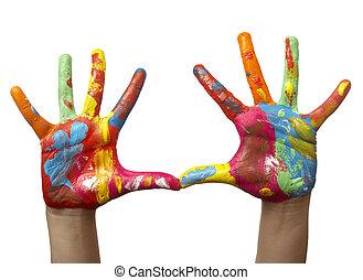 mano, pintado, niño, color