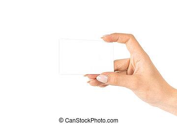mano., plantilla, path., valor en cartera instrumentos de crédito, mano, empresa / negocio, vacío, blanco, aislado, recorte, fondo., tarjeta, blanco