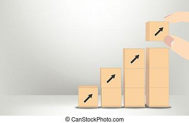 mano, pone, cubos, crecimiento, vector, concepto, -, empresa / negocio