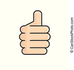 Mano pulgar arriba icono plano. Ilustración aislada en el fondo blanco. El símbolo colorido del vector