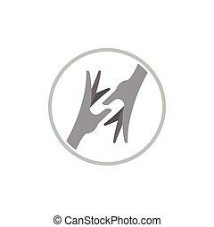 mano que ayuda, 3d, vector, logotipo