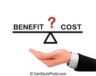 mano, realista, beneficio, coste, tenencia, entre, balance