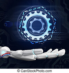 Mano robótica presenta ruedas de engranaje digital. 3D