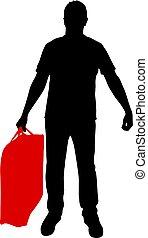 mano, silueta, plano de fondo, maletín, blanco, hombre