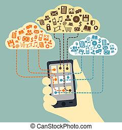 Mano sosteniendo smartphone conectado a los servicios de nubes