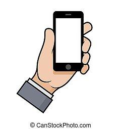 Mano sosteniendo un smartphone en fondo blanco. Vector