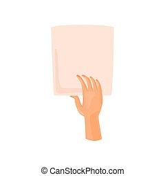 Mano sosteniendo una hoja de papel. Ilustración de vectores sobre fondo blanco.